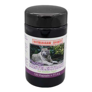 Robert Franz mistletoe extract 120 capsules. Dietary supplement with mistletoe extract for white tigers.