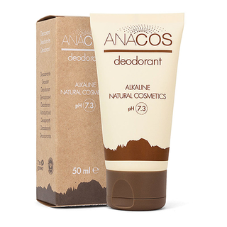 Sanuslife ANACOS Deodorant 50ml. 100% natural and alkaline. Free of aluminum and harmful substances. Antibacterial. Perfect for both men and women.
